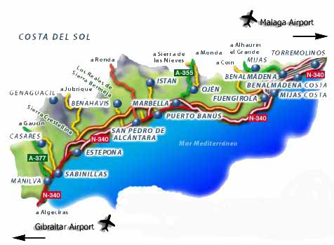 Map South Of Spain.Map Of Southern Spain Resorts Twitterleesclub